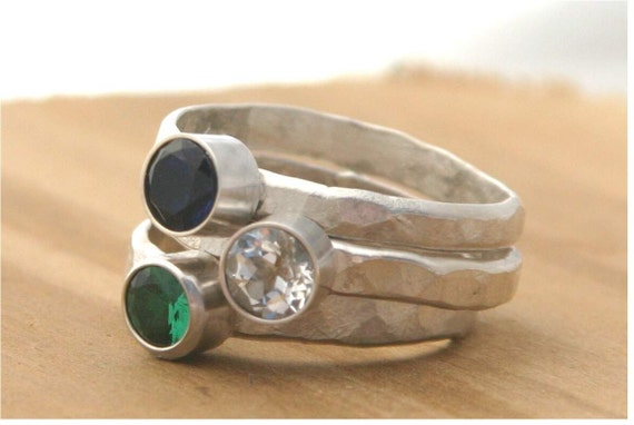 Sterling silver stackable rings, sapphire, white topaz, emerald ring - Your Size