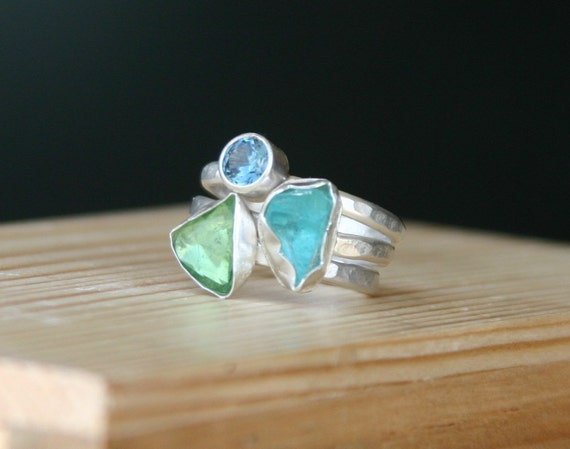 Raw gemstone and sterling stacking rings  - sterling silver, raw apatite, trillion green tourmaline and swiss blue topaz