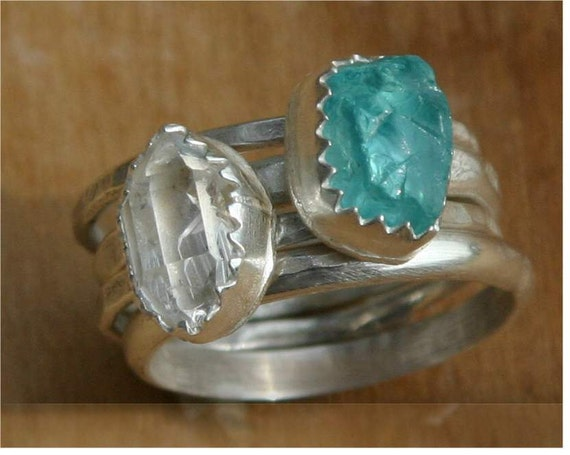 Rough apatite and herkimer diamond stacking rings - sterling silver, rough apatite, herkimer diamond - US Size 6 1/2