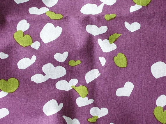 Hand Printed Fabric - Katsura in Plum and Pistachio