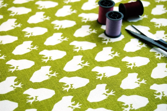 SALE - Fabric - Frog in Olive