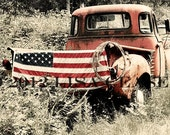 Vintage Pickup Truck with American Flag - Original Fine Art Photography 16x20