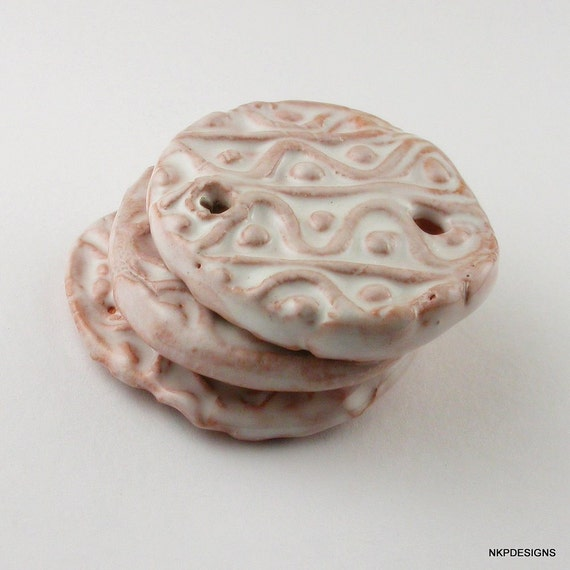 Iced Pink  Textured Ceramic Connector Beads