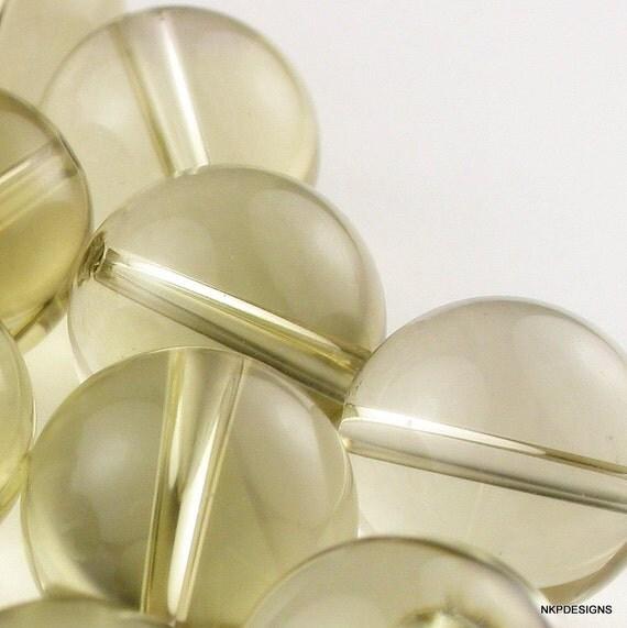 Lemon Quartz  (2 pcs) 14 mm Rounds