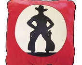 Black Silhouette of a Cowboy Leather Pillow Created by Edward Grigware for Thomas Molesworth