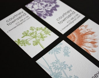 Botanical calling cards - assorted designs in a set of 100