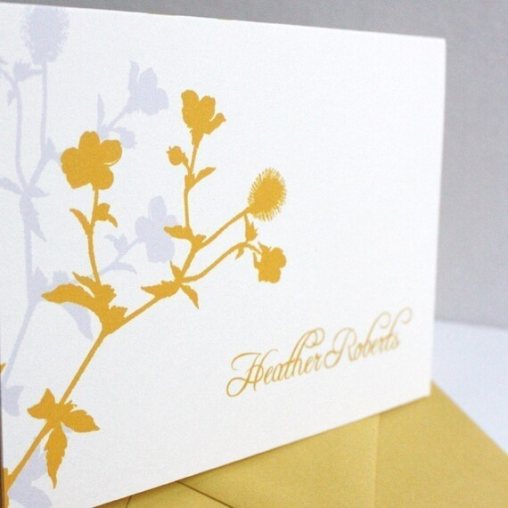 Set of 15 - Flower Blossoms Personalized Stationery-custom color