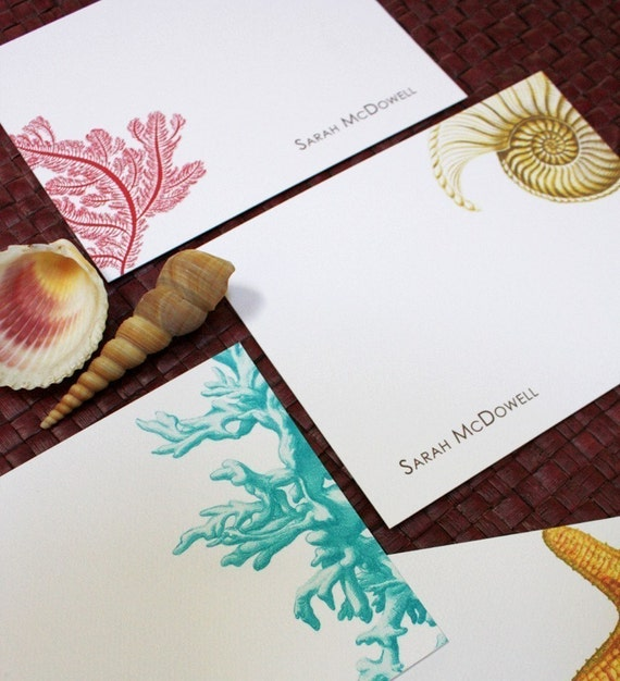 NAUTICAL Series- Personalized Flat Cards - assorted design in a set of 16
