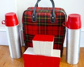 Vintage Red Scotch Plaid Thermos Complete Set Picnic Time
