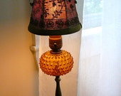 Amber Glass Hobnail Table Lamp