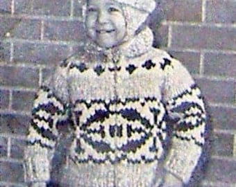 COWICHAN Sweater Knitting Pattern Children Snowflake design outdoors from Raincoaststudio on Etsy