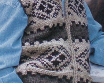 Cowichan SWEATER Vest Knittting Pattern Outdoors Adult from RainCoastStudio on Etsy