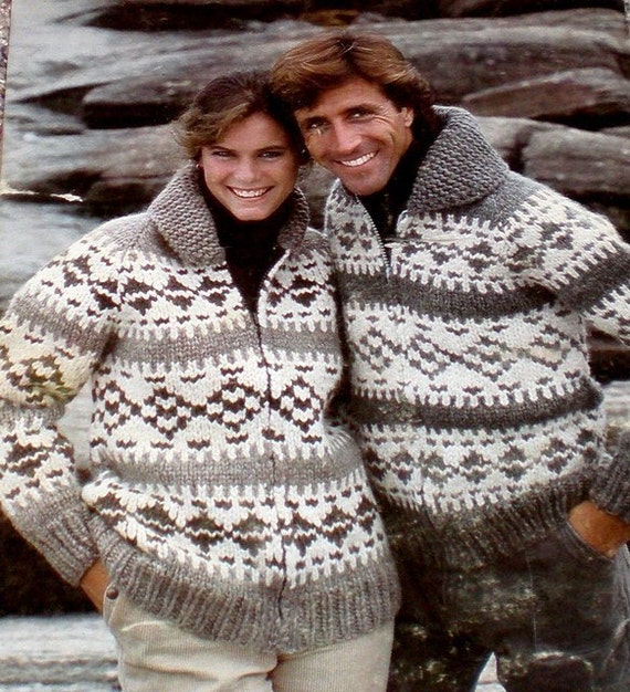 COWICHAN Sweater Knitting Pattern GEOMETRIC Adult from