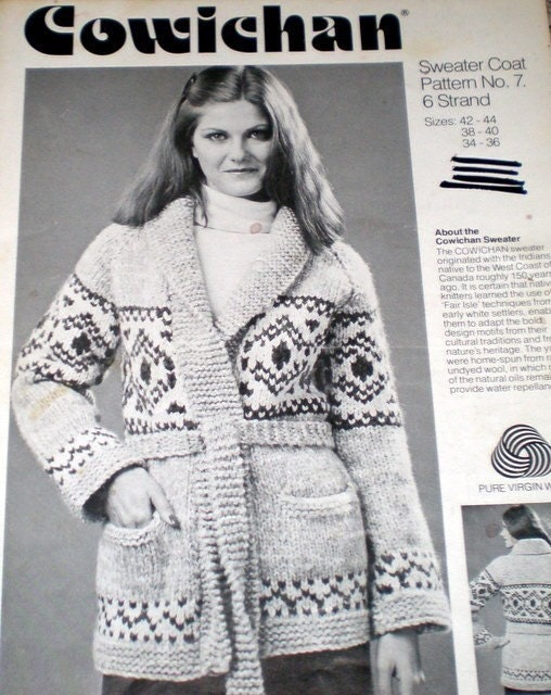 COWICHAN Sweater Knitting Pattern Wrap Around Style Adult