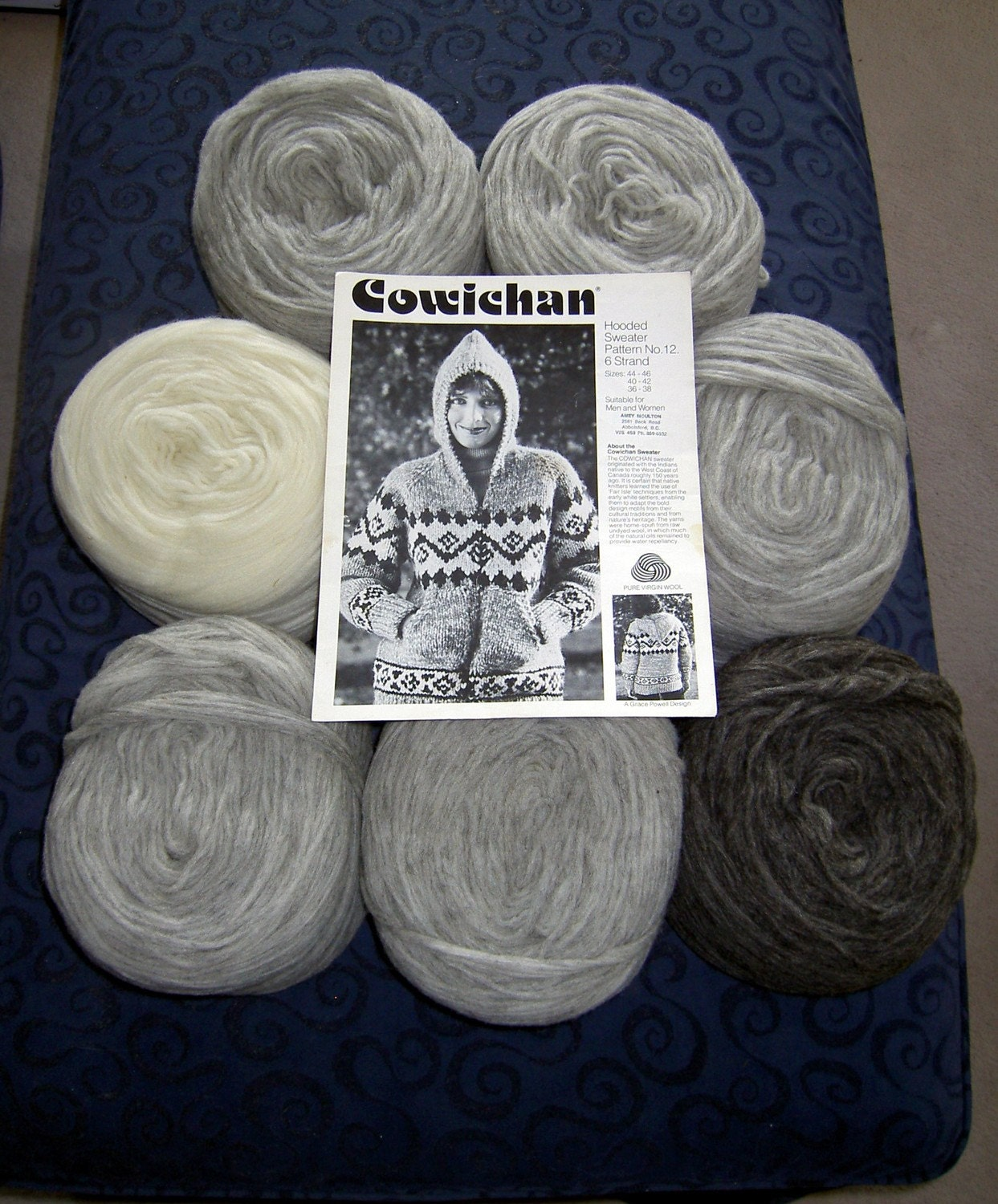 Knitting Pattern Wool Kits : Cowichan SWEATER Knitting Kit Natural Greys WOOL yarn pattern