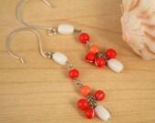 coral bead earrings
