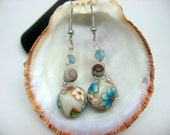 Mocha Blue - crocheted wire earrings