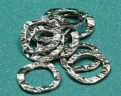17mm Rounded Square Antique Silver Plated Pewter Textured Links - Set of 10