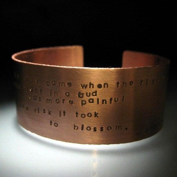 literary quote custom copper cuff