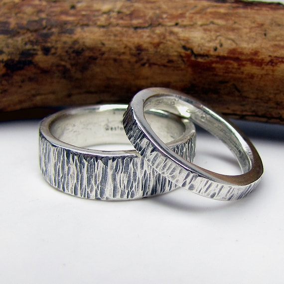 Sterling Wedding Bands silver hammered eco friendly