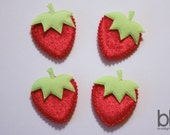 Set of FOUR Velvet Strawberry Appliques in your choice of Red or Pink - Perfect for making your OWN clippies