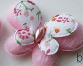 Set of TWO Fuzzy Butterfly Embellishments in PINK - Perfect for any bow or craft