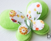 Set of TWO Fuzzy Butterfly Embellishments in GREEN - Perfect for any ow or craft