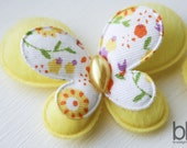 Set of TWO Fuzzy Butterfly Embellishments in YELLOW - Perfect for any bow or craft