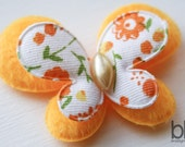 Set of TWO Fuzzy Butterfly Embellishments in ORANGE - Perfect for any bow or craft