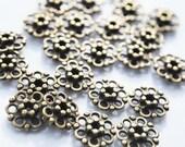 Antique Vintage Brass Flower Spacer beads, PK10