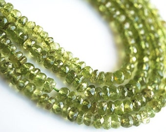 Half Strand, Peridot Faceted Rondelle Beads, 4MM