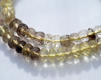 4.5 In or 9 In Strand, Gorgeous BiColor Smoky Lemon Quartz Faceted Rondelles, 4x3MM