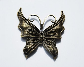 Sale - Antique Vintage Brass Larger Butterfly Charm or Pendant, 1pc
