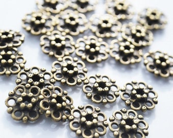 Antique Vintage Brass Flower Spacer beads, PK10