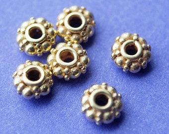 4 Pcs, 24kt karat Gold Vermeil Bali Spacer Beads, 5x2.7MM
