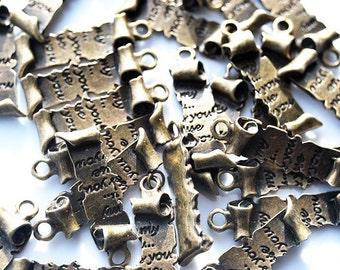 Antique Vintage Brass Love Scroll Letter Charms, Pendants 4 pcs