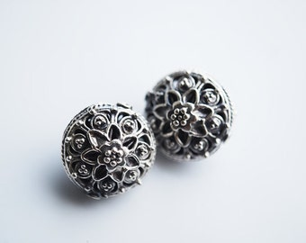 One Pc, 14MM, Large and Authentic Sterling Silver Floral Bali Beads