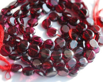 Half Strand,  Garnet Faceted Coin Beads, 5MM
