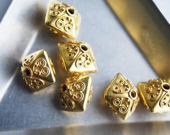 One Bead, 10x10x9 MM, 24kt karat Gold Vermeil Bali Bead