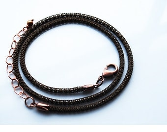 Sale - One 18 Inch Copper Machine Knitted Chain Necklace with Extender