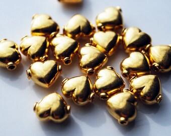 Last Set, Two Hearts, 24kt karat Gold Vermeil Heart Beads, 10 MM