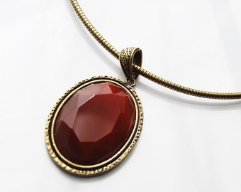 SALE - One Piece, 17-In Faceted Agate Stone Cabochon Brass Necklace