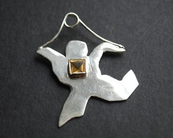 Citrine Stone on Sterling Silver Dancing Man Pendant