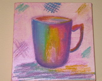Coffee Mug Mixed Media Original 8x8