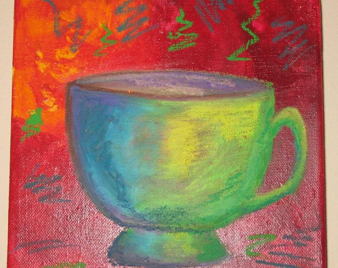 Mocha Dreams 8 x 8 Original Mixed Media Coffee Series 2011