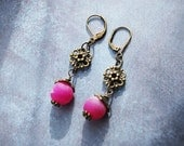 Sale - Pink Druzy Agate Antique Brass Dangle Earrings  - FREE US SHIPPING