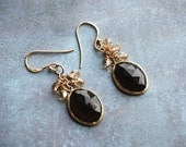 Smoky Quartz Gold Plate Framed on Gold Plated Earrings - FREE US SHIPPING