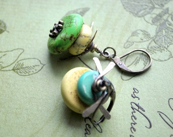 Sale - Turquoise and Brass Steampunk Earrings - FREE US SHIPPING