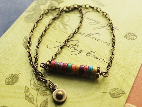 Sale - Ethnic Multi-Color Turquoise on Antique Brass Necklace -  FREE US SHIPPING