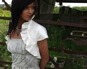 IVORY Ruffled Silk Courtesan Bolero